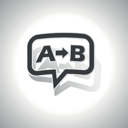 derivation: Curved chat bubble with letters A, B and arrow and shadow, on white