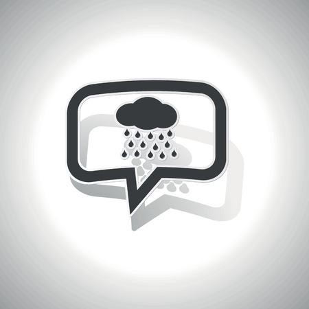 sleet: Curved chat bubble with cloud with rain and shadow, on white