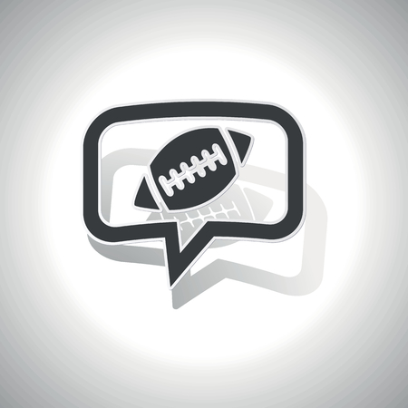 gridiron: Curved chat bubble with rugby ball and shadow, on white Illustration