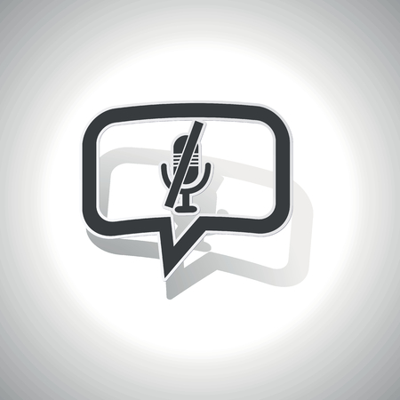 muted: Curved chat bubble with muted microphone and shadow, on white Illustration