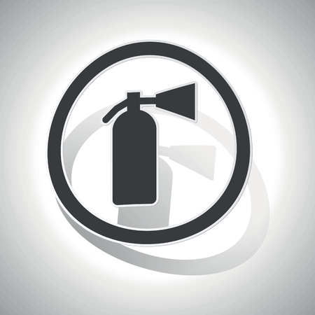 conflagration: Curved circle with image of fire extinguisher and shadow, on white Illustration