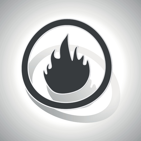 conflagration: Curved circle with image of flame and shadow, on white