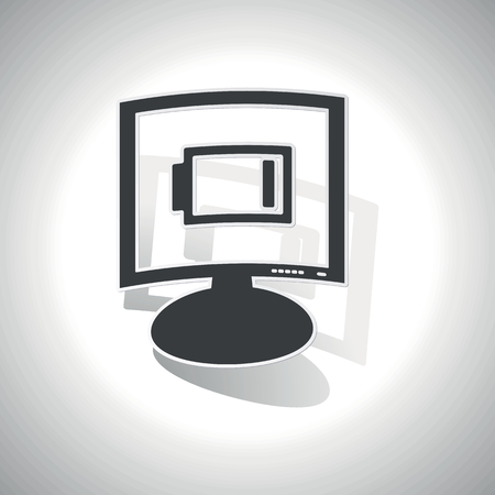 very: Curved monitor with image of very low battery and shadow, on white