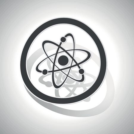atomo: icono de la muestra átomo, curvado, con esquematización y la sombra, en el degradado de blanco Vectores