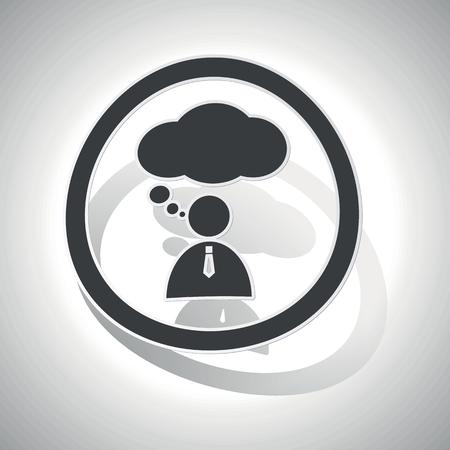denkender mensch: Thinking Person Symbol, gebogen, mit Gliederung und Schatten, auf wei�em Gradienten