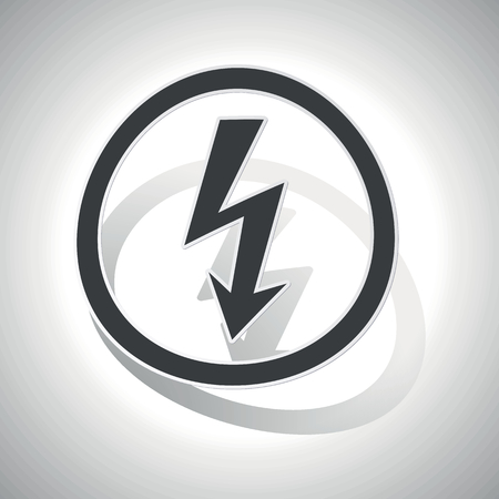 Voltage sign icon, curved, with outlining and shadow, on white gradient Illustration