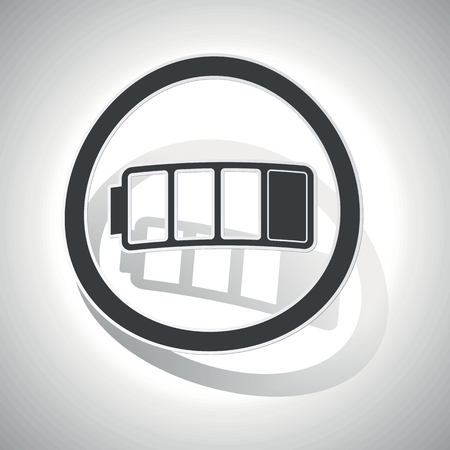 low battery: Low battery sign icon, curved, with outlining and shadow, on white gradient Illustration