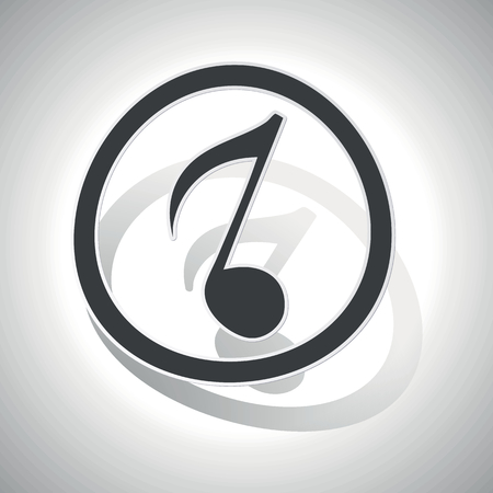 eighth note: Eighth note sign icon, curved, with outlining and shadow, on white gradient