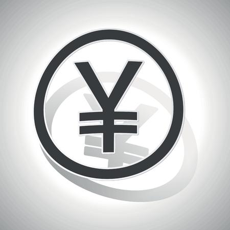 yen sign: Sticker Yen, curvado, con esquematizaci�n y la sombra