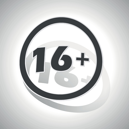 16: 16 plus sign sticker, curved, with outlining and shadow Illustration