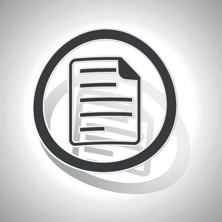 article writing: File sign sticker, curved, with outlining and shadow
