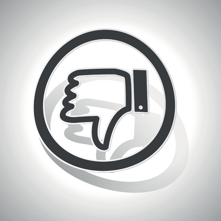 disapproval: Dislike sign sticker, curved, with outlining and shadow
