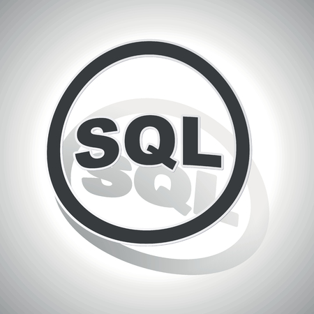 sql: SQL sign sticker, curved, with outlining and shadow Illustration
