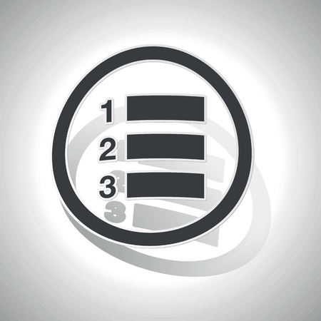 enumerated: Numbered list sign sticker, curved, with outlining and shadow
