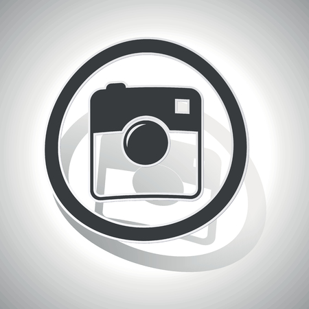 microblog: Square camera sign sticker, curved, with outlining and shadow Illustration