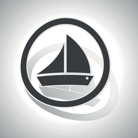 ship sign: Sailing ship sign sticker, curved, with outlining and shadow