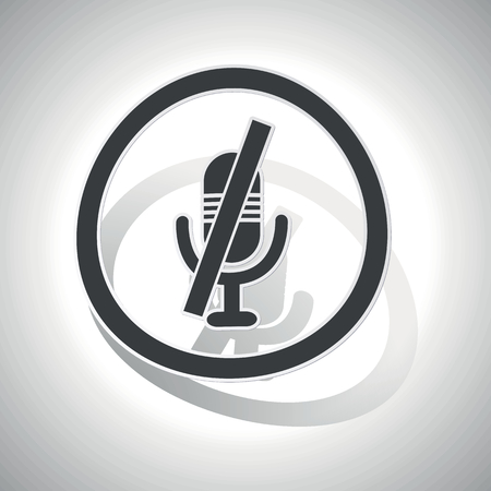 muted: Muted microphone sign sticker, curved, with outlining and shadow Illustration