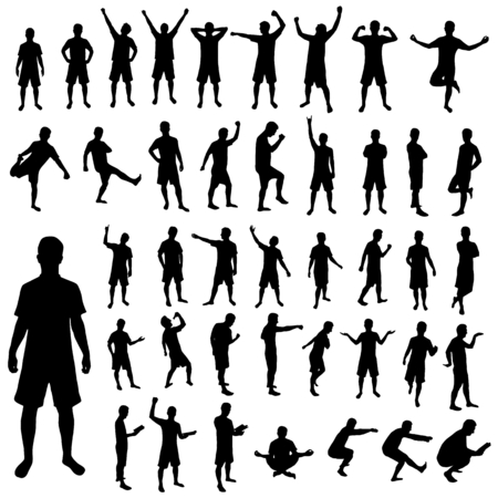 Pose silhouette set, man in different positions, black, isolated on white
