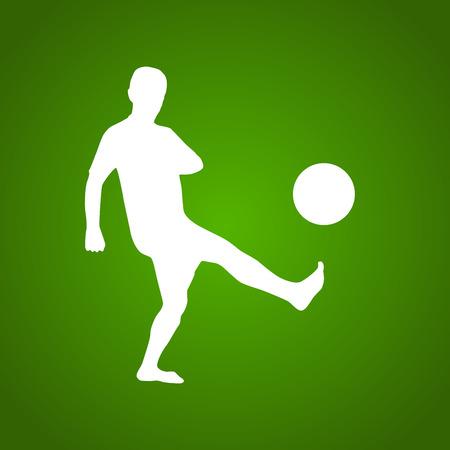 illustrazione uomo: Football player silhouette illustration, man kicks ball, white, on green background Vettoriali