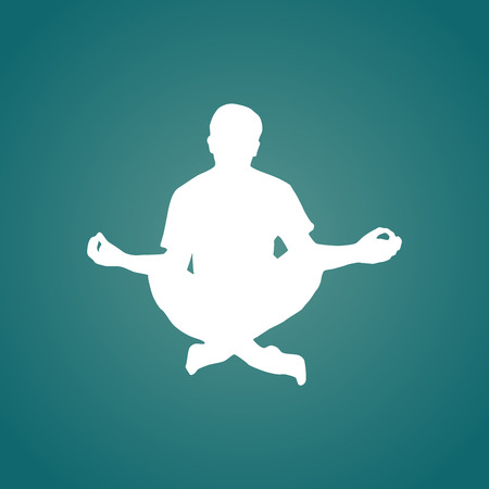 Meditation silhouette illustration, man in lotos pose, white, on dark cyan background