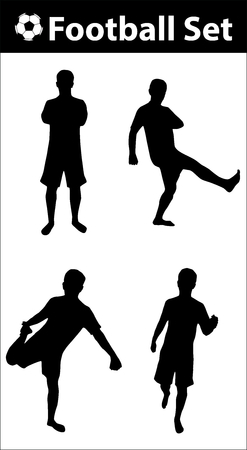football silhouette: Football silhouette set, man in football positions, black, isolated on white