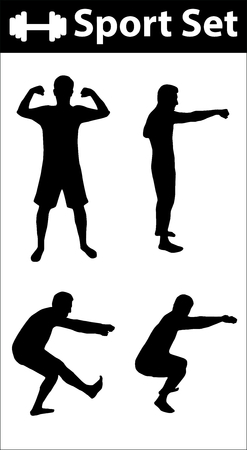 crouch: Sport silhouette set, man doing warm-up, black, isolated on white Illustration