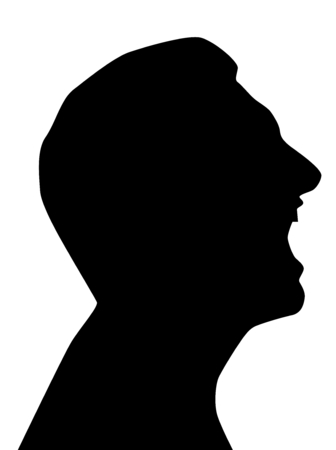 Screaming silhouette, turned man head with open mouth, black, on white background