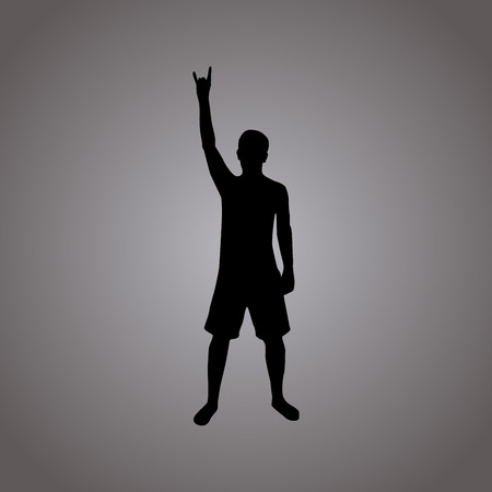 metal legs: Rock silhouette illustration, man with horn gesture, white, on grey background