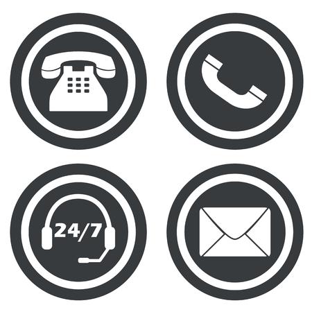 overnight: Segni di comunicazione set, quattro, su cerchi scuri, isolato su bianco