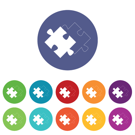 matching: Matching puzzle icons set, on colored circles, isolated on white