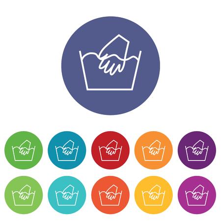 washbowl: Hand wash icons set, on colored circles, isolated on white
