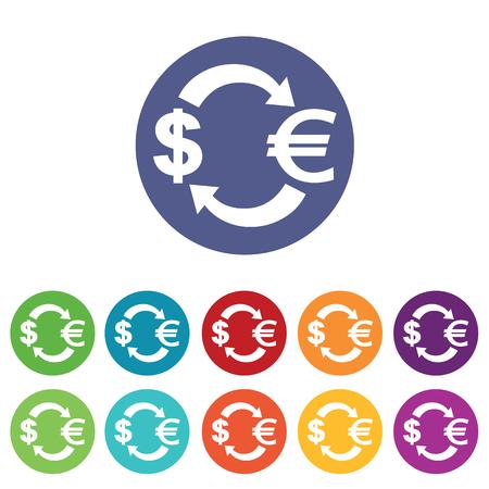 fondos violeta: iconos de cambio dólar-euro fijado, en círculos de colores, aislado en blanco