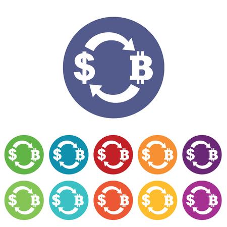 fondos violeta: iconos de cambio dólar-bitcoin establecer, en círculos de colores, aislado en blanco