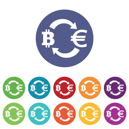 fondos violeta: iconos de cambio de Bitcoin-euro fijado, en círculos de colores, aislado en blanco