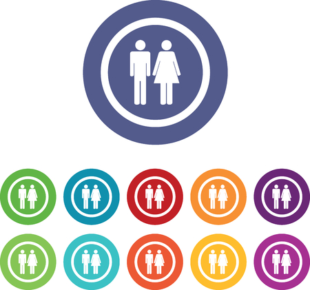 toilet icon: Man woman signs set, on colored circles, isolated on white Illustration