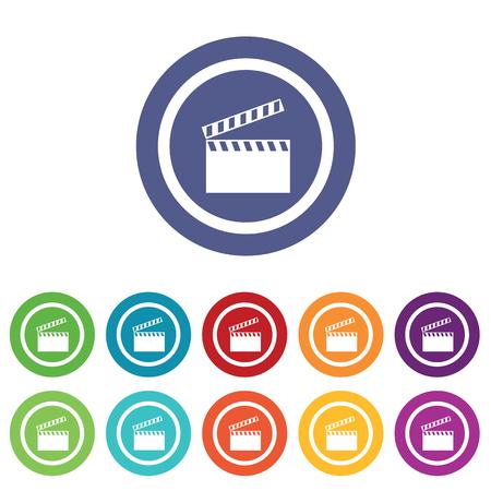 cinematograph: Signos Clapperboard establecen, en c�rculos de colores, aislado en blanco Vectores