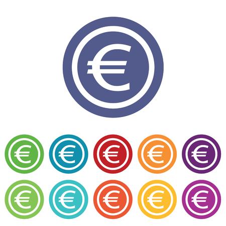 fondos violeta: Euro de establecer, en círculos de colores, aislado en blanco