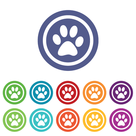 track pad: Animal signs set, on colored circles, isolated on white