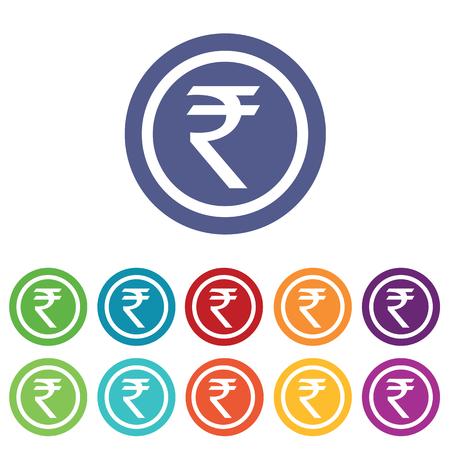 fondos violeta: signos de la rupia india establecer, en círculos de colores, aislado en blanco