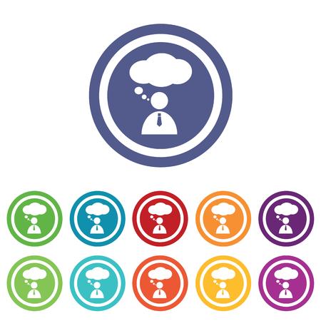 denkender mensch: Thinking Person Zeichen gesetzt, auf farbige Kreise, isoliert auf wei�