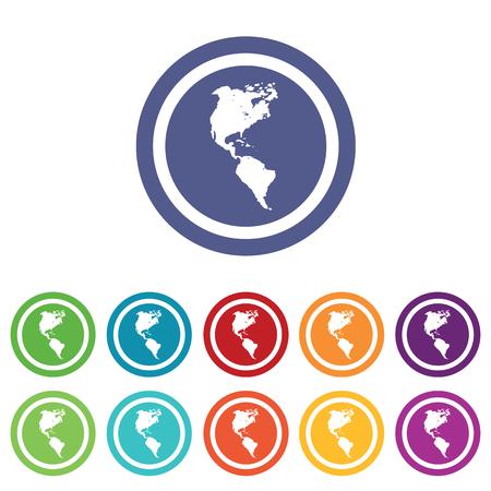 continente americano: Signos continentes americanos establecer, en círculos de colores, aislado en blanco