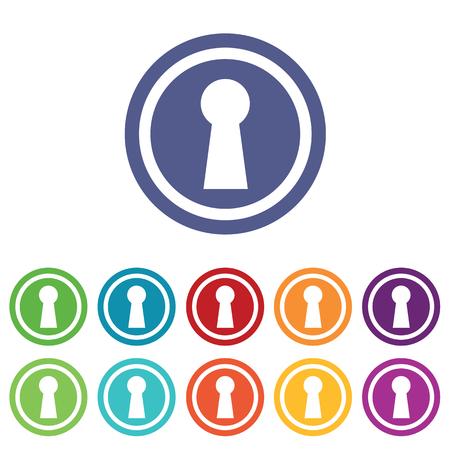 slit: Keyhole signs set, on colored circles, isolated on white Illustration
