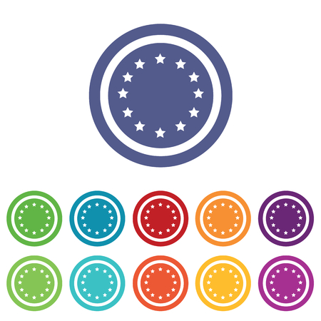 european integration: European Union signs set, on colored circles, isolated on white