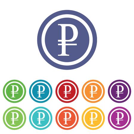 fondos violeta: Rublo signos establecidos, sobre c�rculos de colores, aislado en blanco Vectores