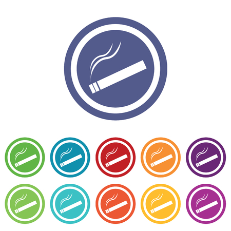 smoking place: Smoking signs set, on colored circles, isolated on white
