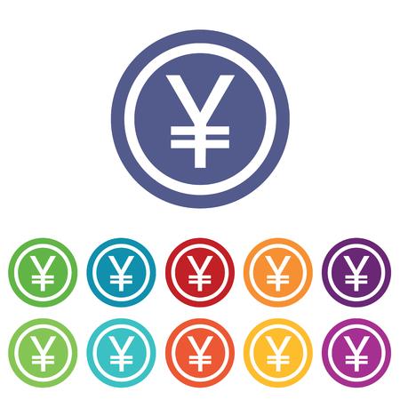 fondos violeta: Yen signos establecen, en c�rculos de colores, aislado en blanco