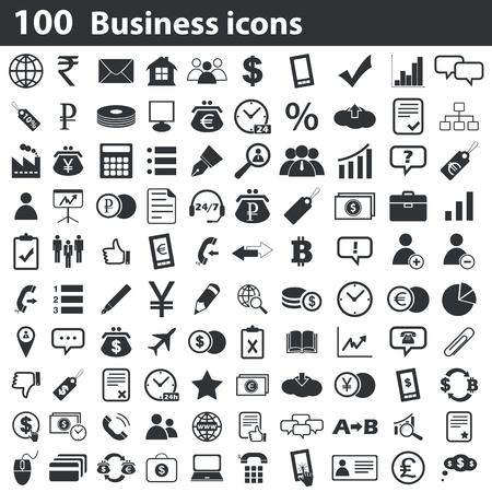 100 비즈니스 아이콘 세트, 검정, 흰색 배경에 일러스트