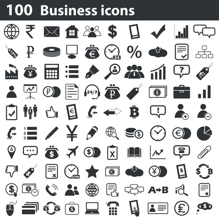 percentage sign: 100 business icons set, black, on white background