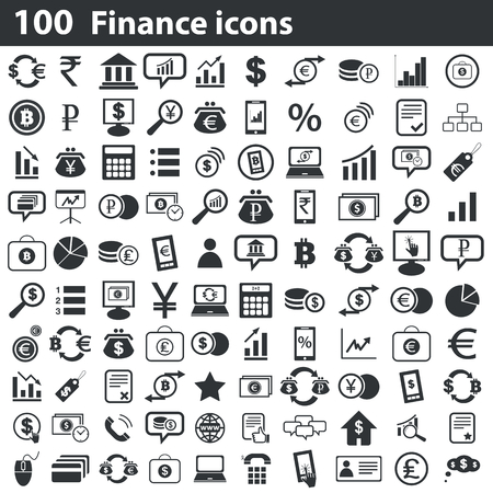 rupee: 100 finance icons set, black, on white background Illustration