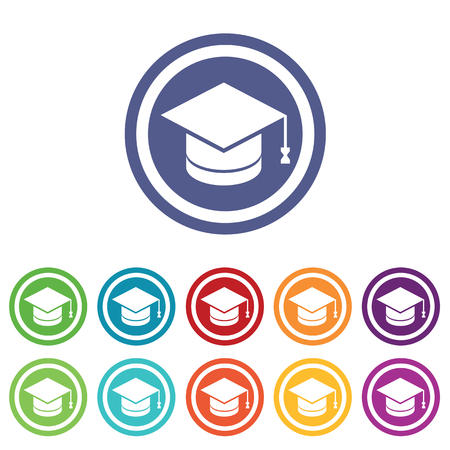 master page: Graduation signs set, on colored circles, isolated on white